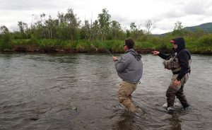 Brooks Lodge Fighting Fish with Guide